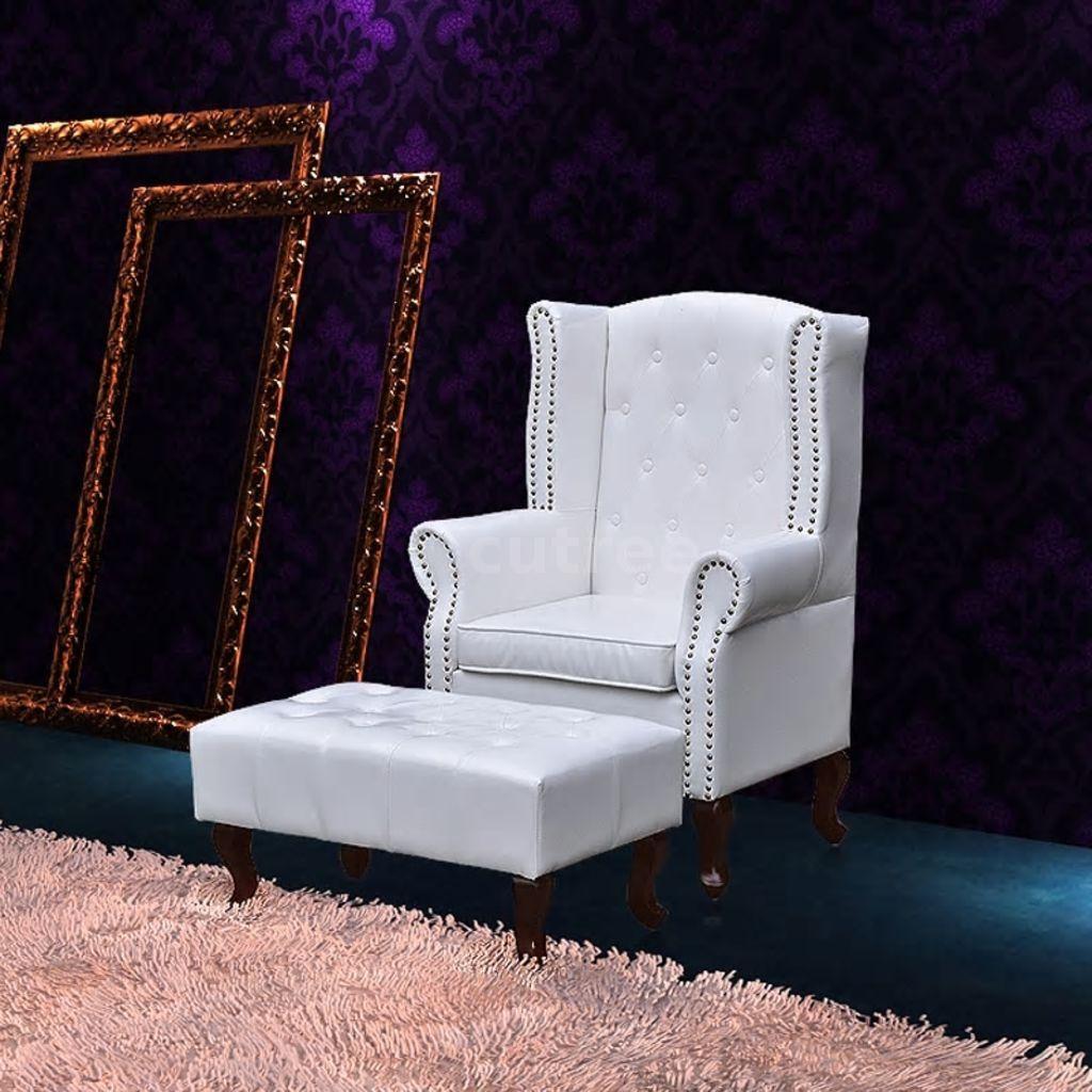 Chesterfield Ohrensessel Mit Hocker Ohrenbacken Lounge Couch Büro