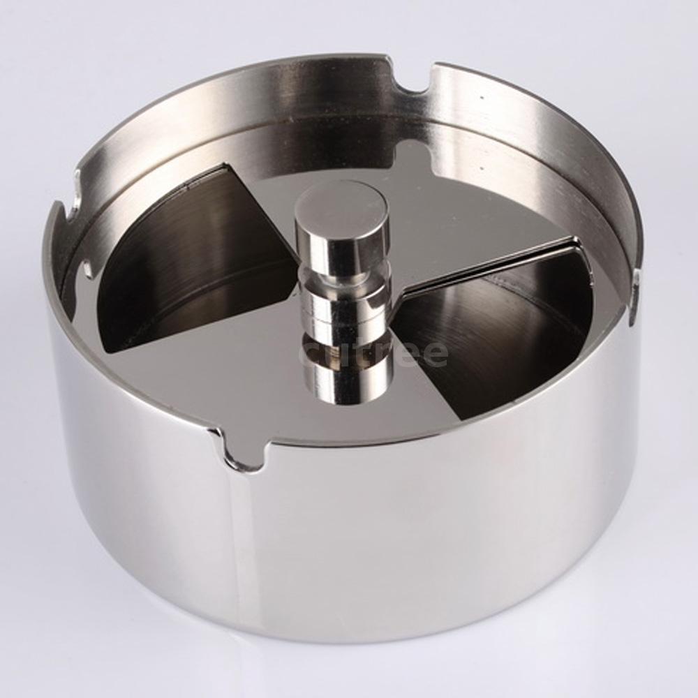 Hochwertigem Edelstahl Runde Kreiseln Aschenbecher mit Spinning Tray O6A5